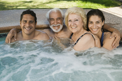 Family in Hot Tub